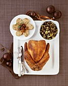 Stuffed Christmas turkey with wild rice and napkin dumpling