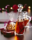 Christmas gifts: spiced liqueur and nuts & raisins