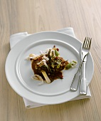 Braised pork cheeks in rosemary and almond butter