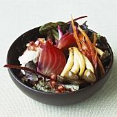 Beetroot salad with enokitake mushrooms