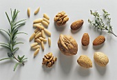 Rosemary, pine nuts, walnuts, almonds and thyme