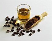 Coffee beans, ground coffee and coffee liqueur
