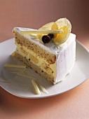 A piece of white chocolate banana cake