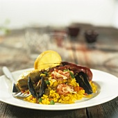 Paella with crayfish tails