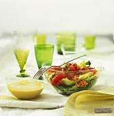 Salad with crayfish tails, grapefruit, avocado & mustard dressing