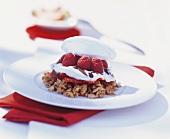 Crispy dessert with raspberries