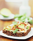 Avocado and prawns on wholegrain bread