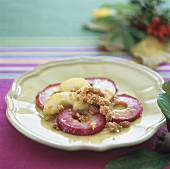 Fried apple slices with raisins and buttered breadcrumbs