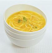Noodle soup with saffron strands and marjoram