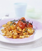Bean and potato stew with cherry tomatoes