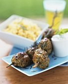 Meatballs on rosemary skewers