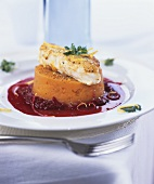 Cod on mashed sweet potato and beetroot sauce