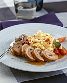 Veal roulade with tagliatelle and tomatoes