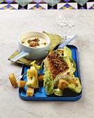 Catfish fillet on Caesar salad