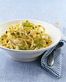 Tagliatelle with pistachios and lemon zest