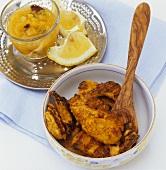 Tandoori chicken tikka and mango chutney (India)