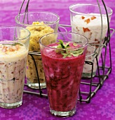 Indian yoghurt dips: with beetroot, peppers, aubergine, tomato