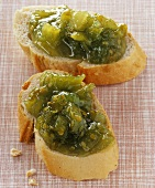 Green tomato jam on baguette slices