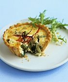 Cheese and spring onion tartlet