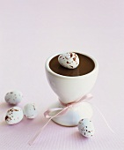 Chocolate cream with marzipan eggs