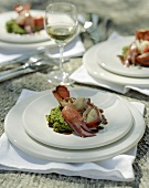 Roasted lobster with pea puree