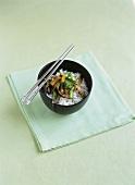 Stir-fried vegetables on rice