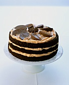 Chocolate sponge cake with orange cream