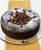 Chocolate cake with prunes and chocolate raisins