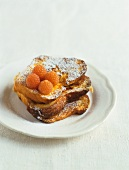 Pain perdu (French toast) with yellow raspberries