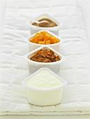 Yoghurt, cornflakes, fruit and brown sugar