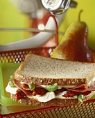 Salami, cheese, dried tomato & basil sandwich (brown bread)