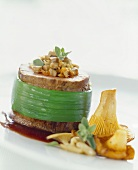 Beef fillet stuffed with mushrooms on red wine sauce with marjoram