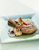 Veal chop in light shiitake jus