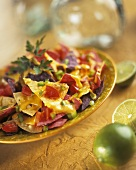 Nachos with peppers and melted cheese