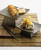 Inside-out rolls and prawn tempura