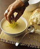 Garnishing creamy vegetable soup