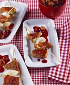 Grilled cheese skewers with grape ragout