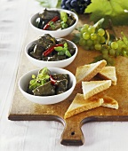 Blanched vine leaves with spicy cheese stuffing