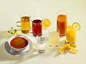 Tomato soup, mineral water and various juices