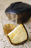 Tourteau Charentais (French cake) and cognac