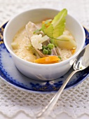 Bremen chicken soup with cauliflower and peas