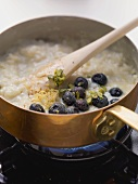 Coconut rice pudding with blueberries