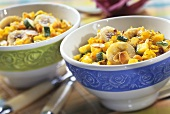 Curried rice with apricots, bananas and courgettes