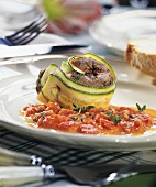 Lamb and courgette roll in tomato cream