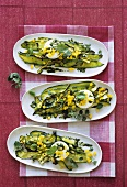 Courgettes with fresh goat's cheese and herb vinaigrette
