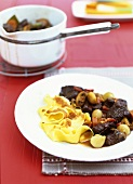 Burgundy beef with ribbon pasta