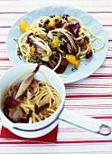 Linguine with radicchio, orange and olives