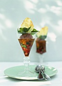 Tomato and olive sorbet with mozzarella crisp and basil