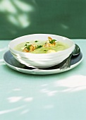 Pea and saffron puree with langoustines
