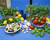 Feta with olives, herbs and vegetables (Greek cuisine)